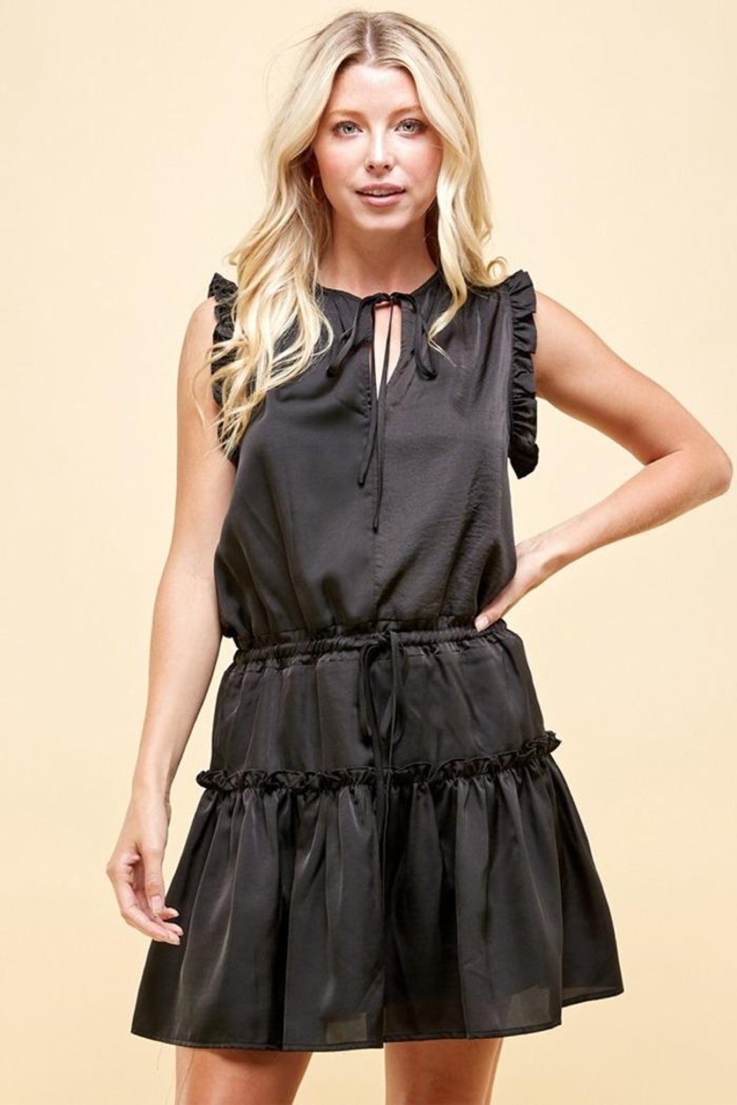Pinch Tiered Mini Dress - Front Cropped Image