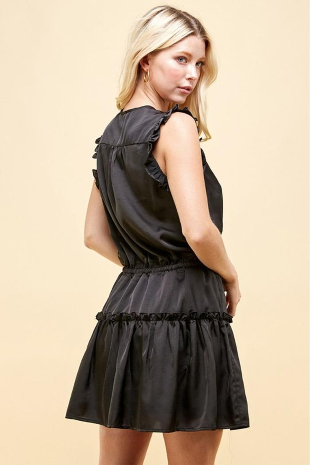 Pinch Tiered Mini Dress - Side Cropped Image