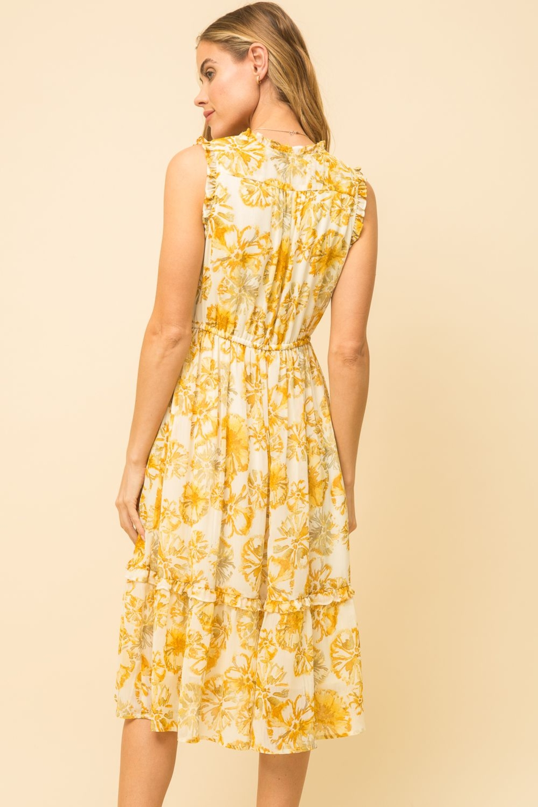 Mystree Pineapple Midi Dress - Side Cropped Image