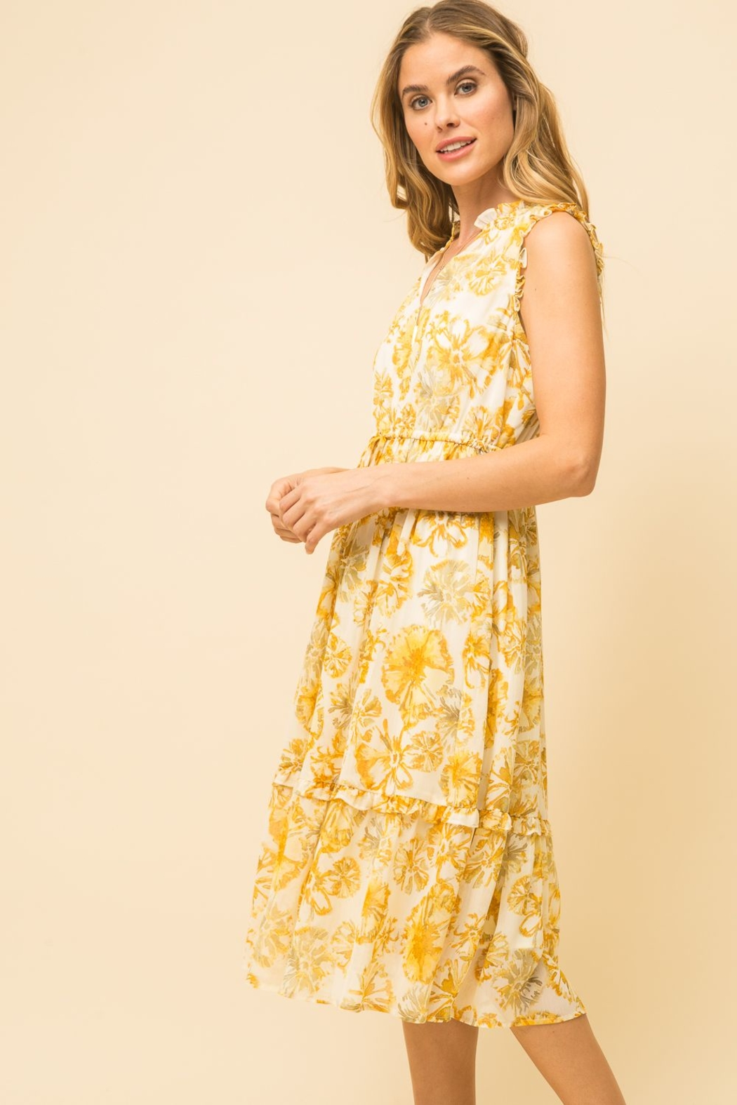 Mystree Pineapple Midi Dress - Front Full Image