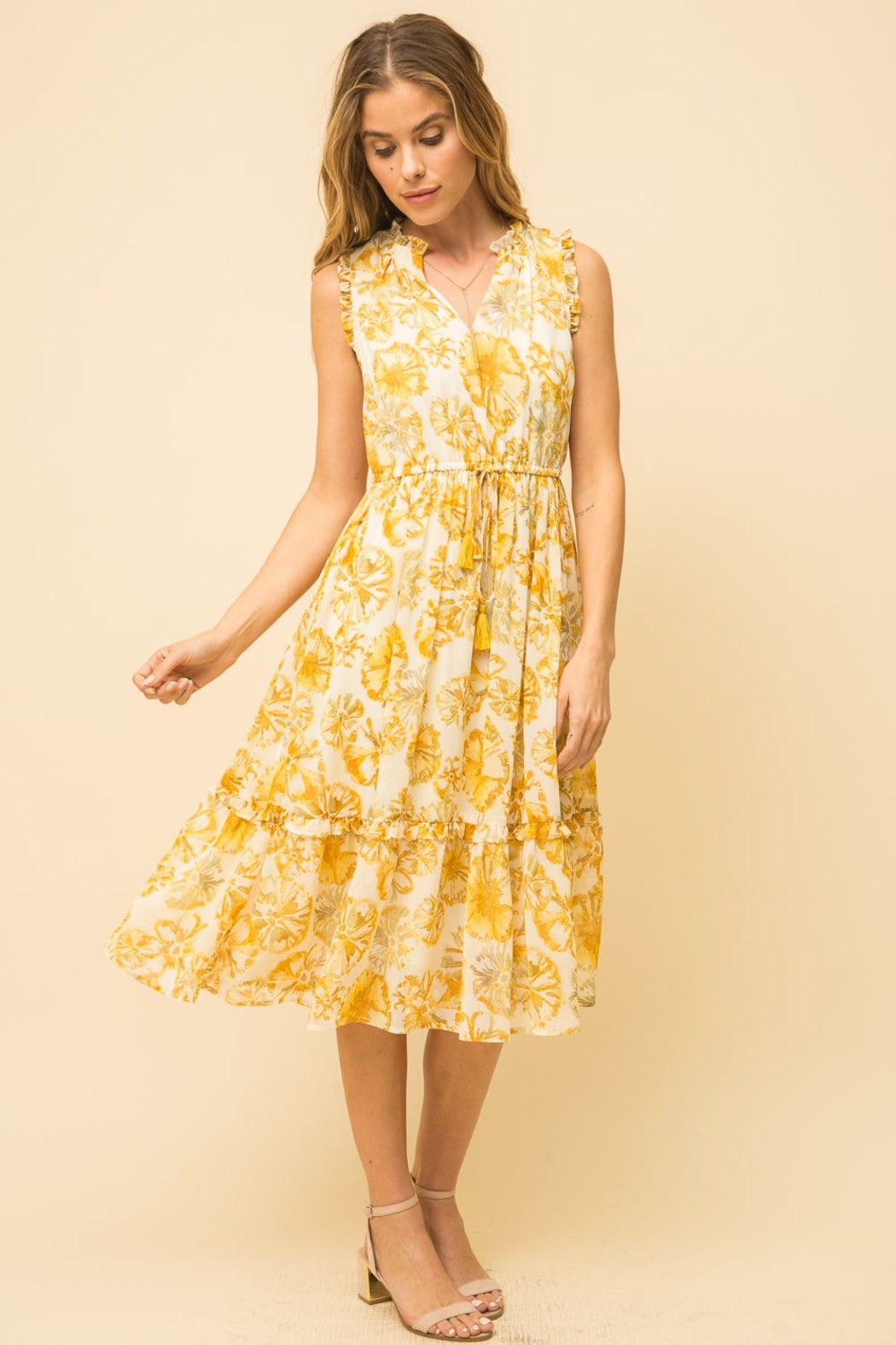 Mystree Pineapple Midi Dress - Front Cropped Image