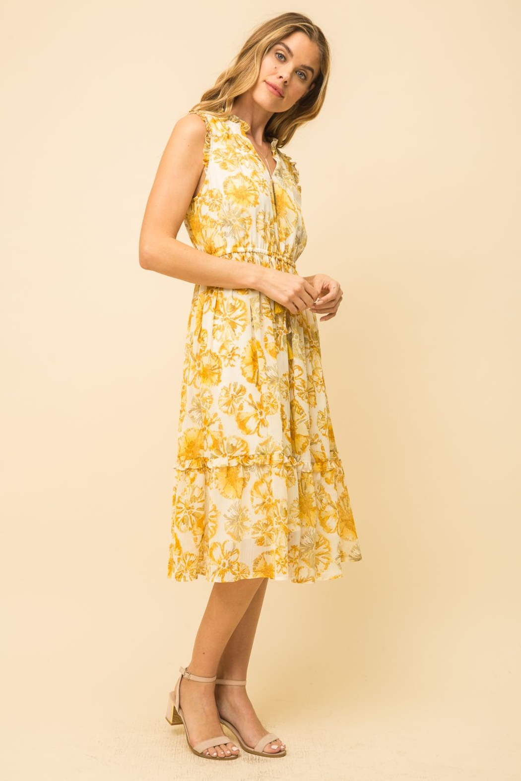 Mystree Pineapple Midi Dress - Back Cropped Image