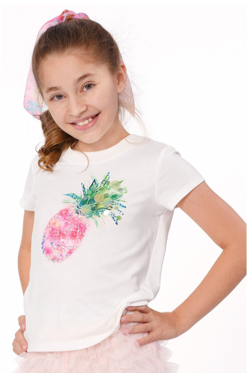Hannah Banana Pineapple Sequin Tee - Front Full Image
