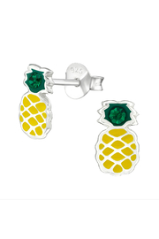 Silver Jewels Pineapple Silver Stud Earrings - Front cropped
