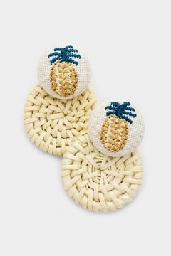 Embellish Pineapple Straw Earrings - Alternate List Image