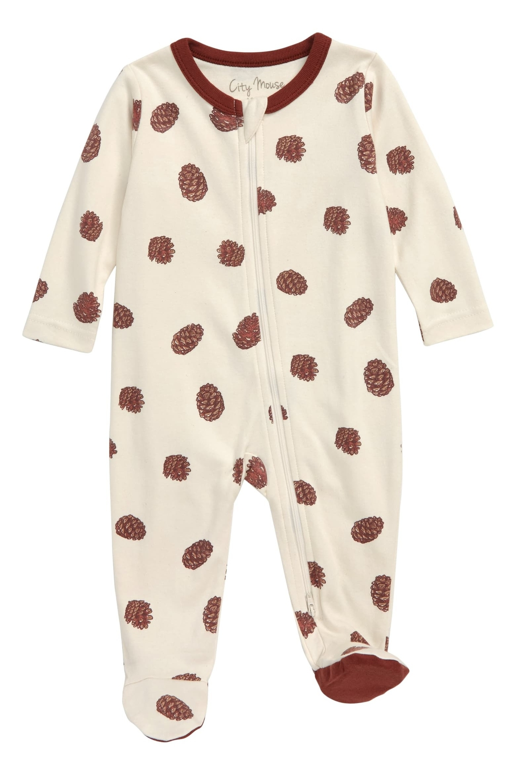 City Mouse Pinecone Footed Zip Romper - Main Image