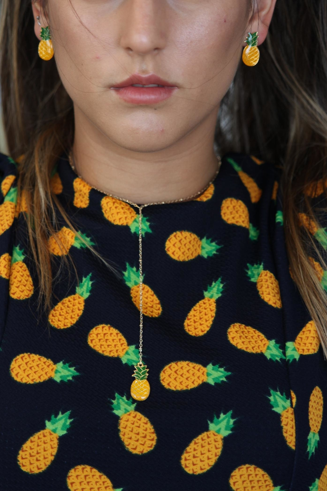 Mayes Accesorios Pinepple Resin Earrings - Side Cropped Image