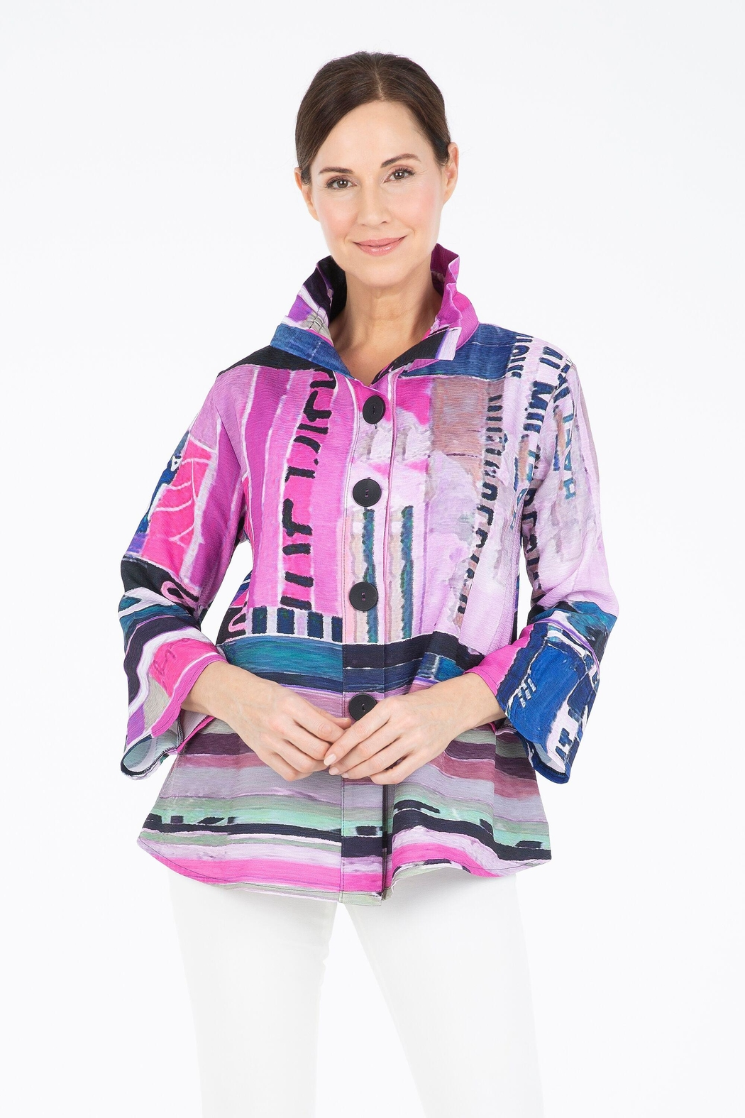 Damee Pink Abstract Jacket - Front Cropped Image