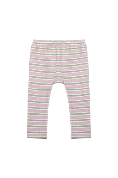 Paper Wings Pink and Khaki Stripe Organic Leggings - Alternate List Image