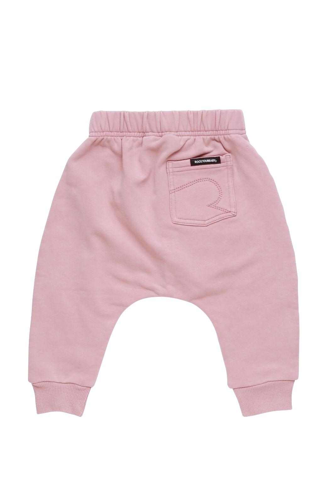Rock Your Baby Pink Baby Trousers - Front Full Image