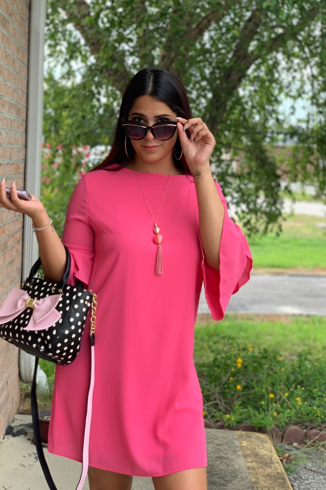 Pixi and Ivy Pink Bell Sleeves Dress - Main Image