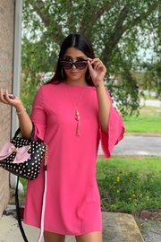 Pixi and Ivy Pink Bell Sleeves Dress - Front cropped