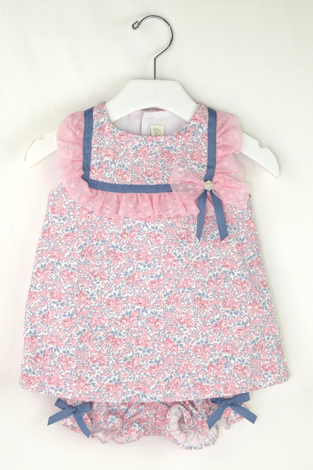 Dolce Petit Pink & Blue Dress - Front Cropped Image
