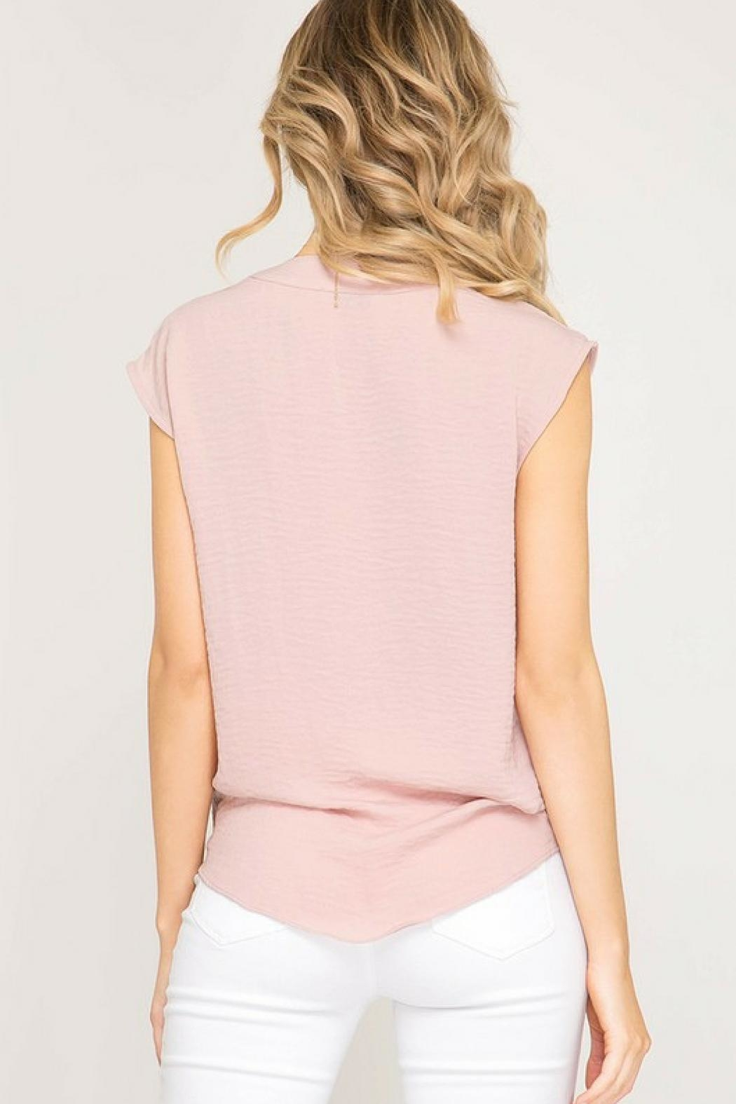 She + Sky Pink Bow Blouse - Back Cropped Image