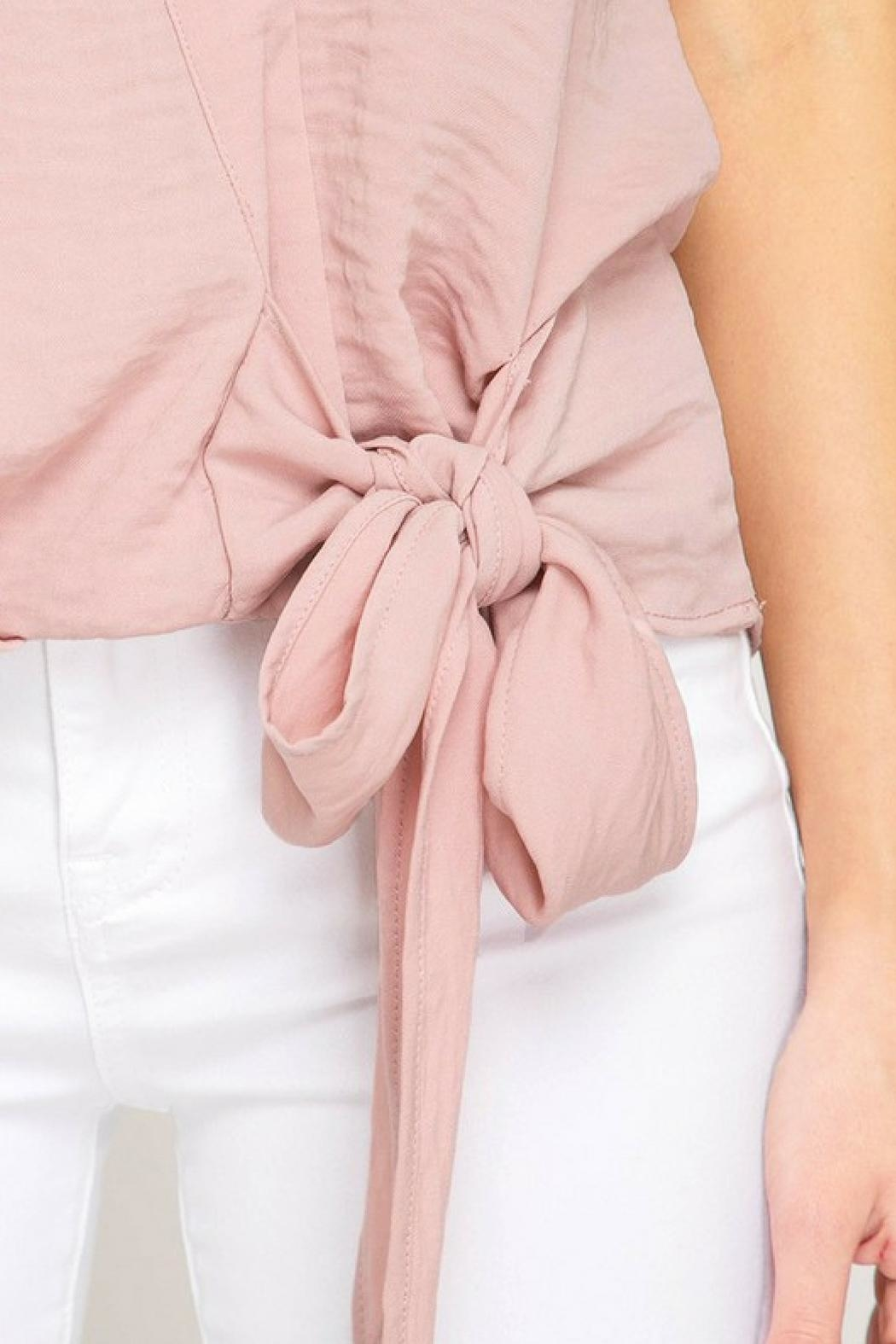 She + Sky Pink Bow Blouse - Side Cropped Image