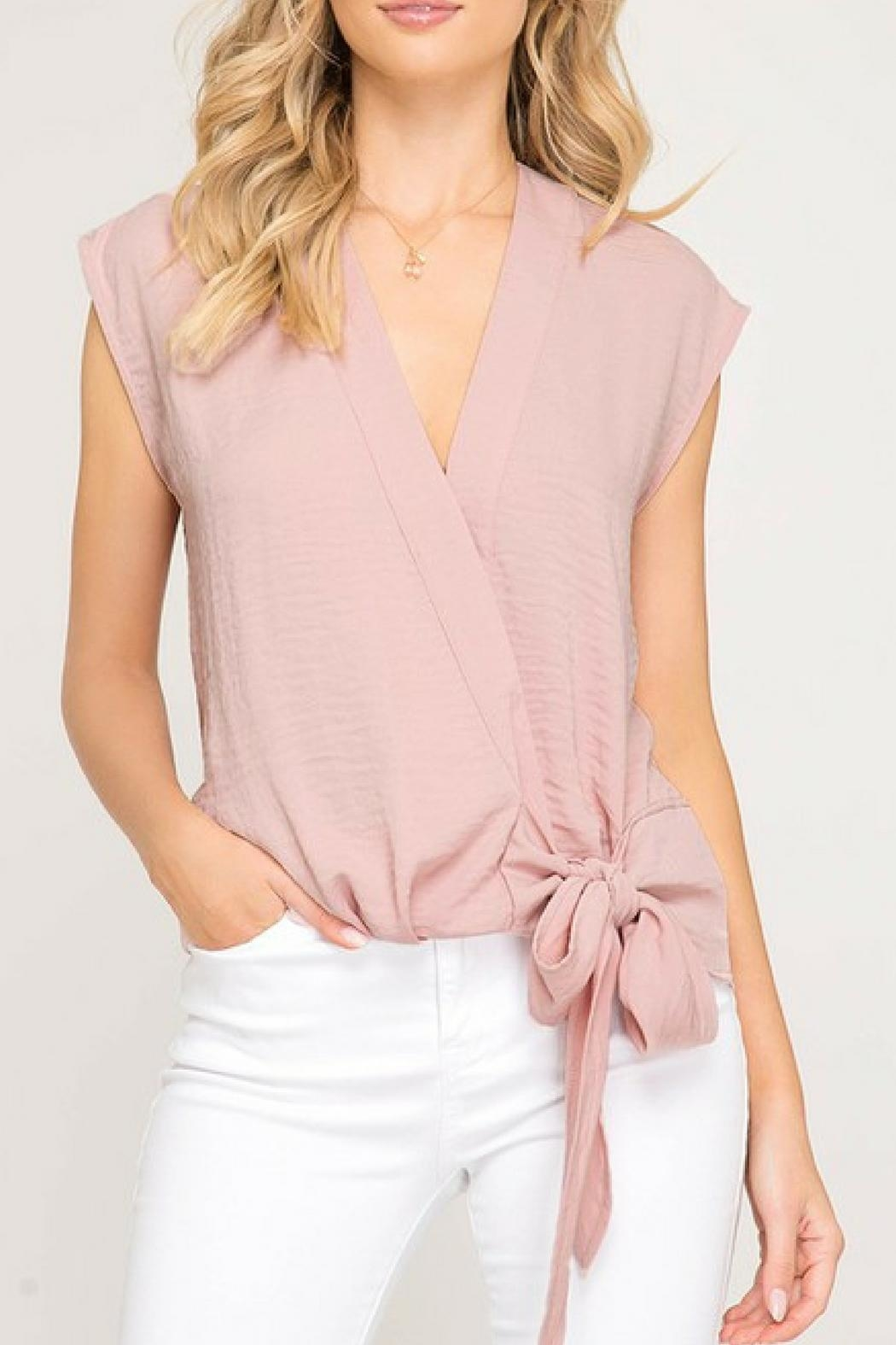 She + Sky Pink Bow Blouse - Main Image