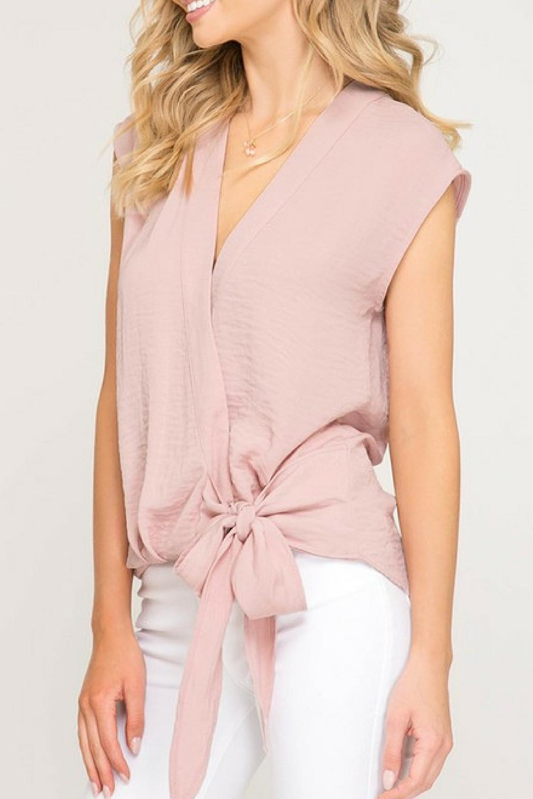 She + Sky Pink Bow Blouse - Front Full Image