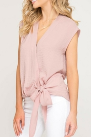 She + Sky Pink Bow Blouse - Front full body