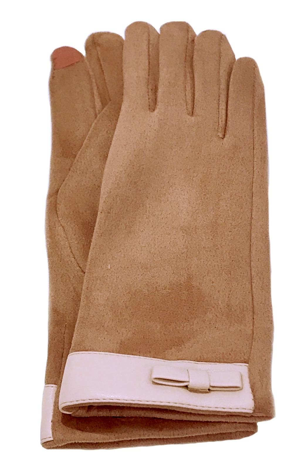 ANTONELLO SERIO Pink Bow Gloves - Front Cropped Image