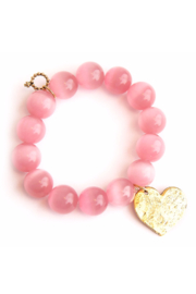 Powerbeads by Jen Pink Calcite with Gold Heart - Front cropped