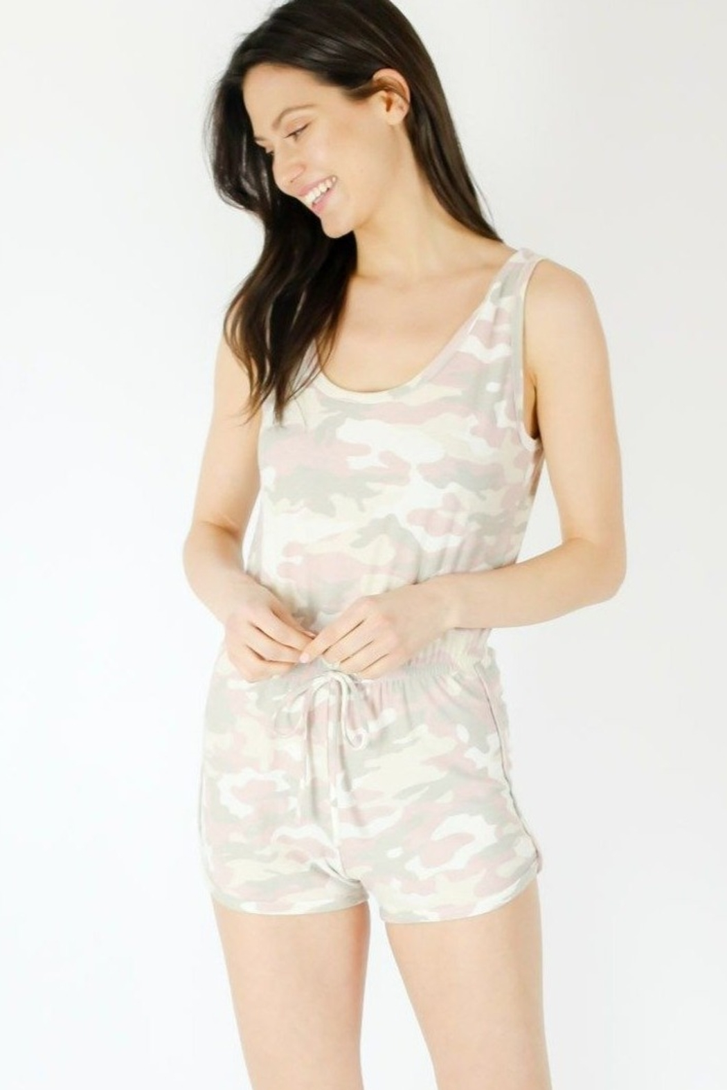 Six Fifty Pink Camo Romper - Front Full Image