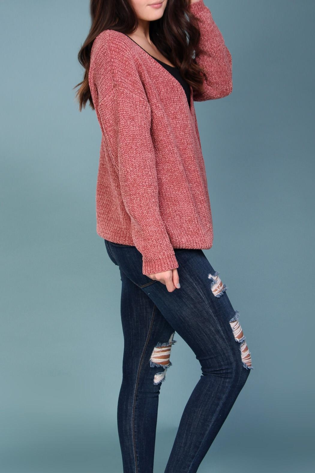 Wishlist Pink Chenille Sweater - Side Cropped Image