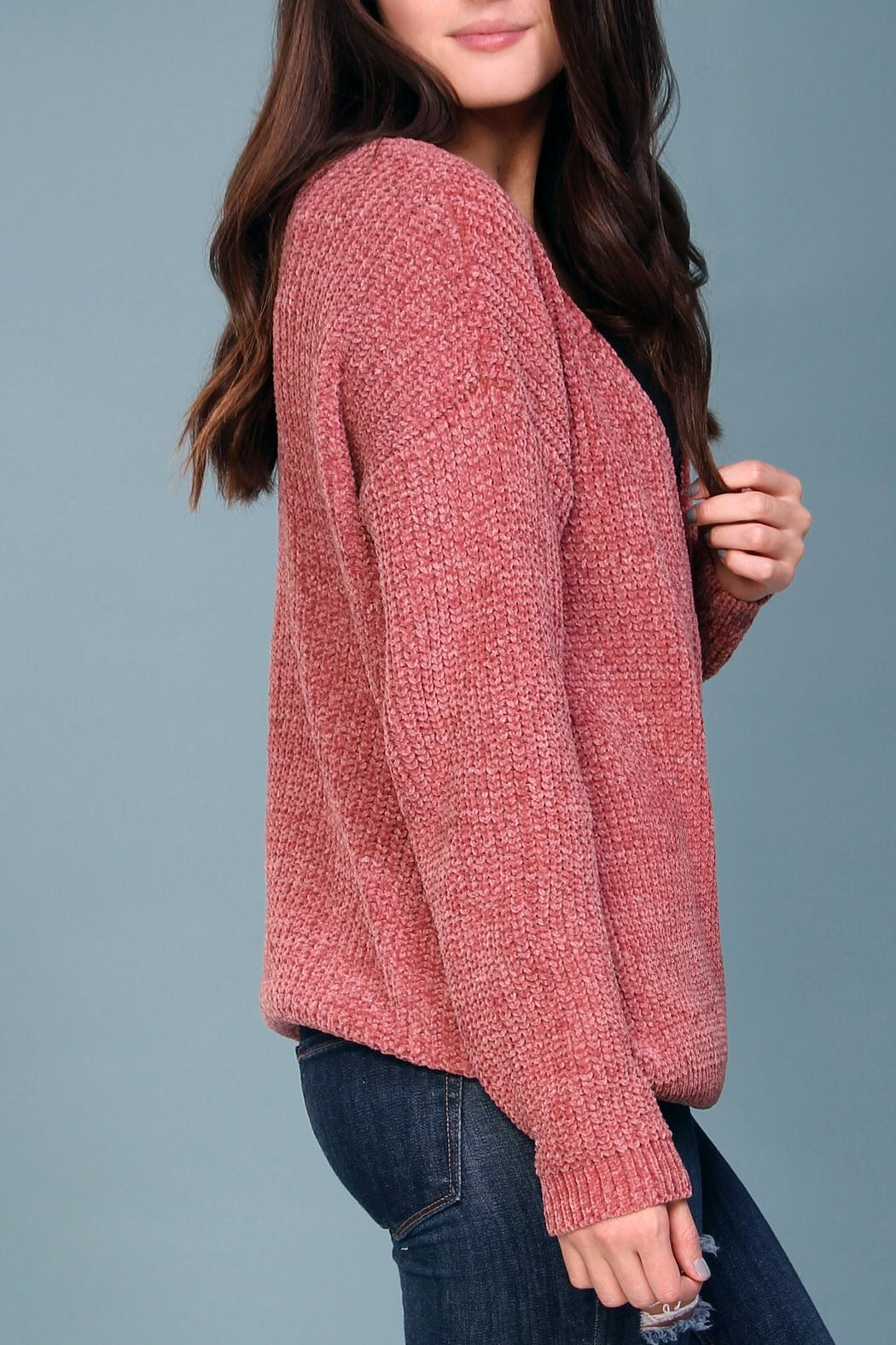 Wishlist Pink Chenille Sweater - Back Cropped Image