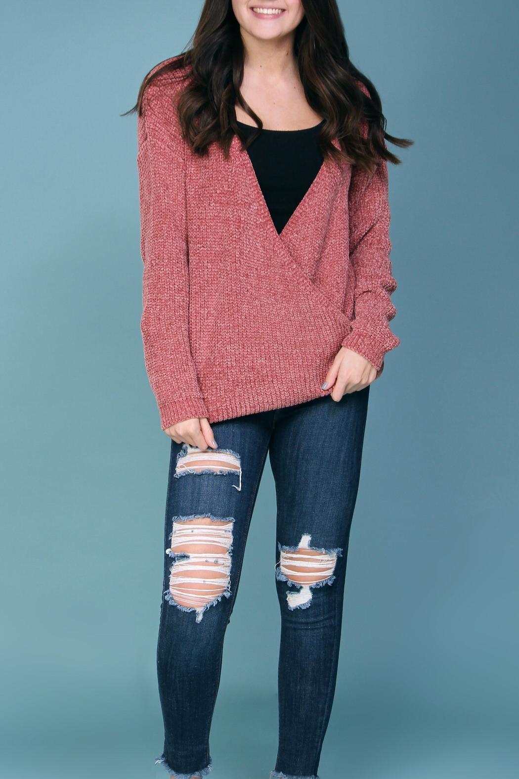 Wishlist Pink Chenille Sweater - Front Cropped Image