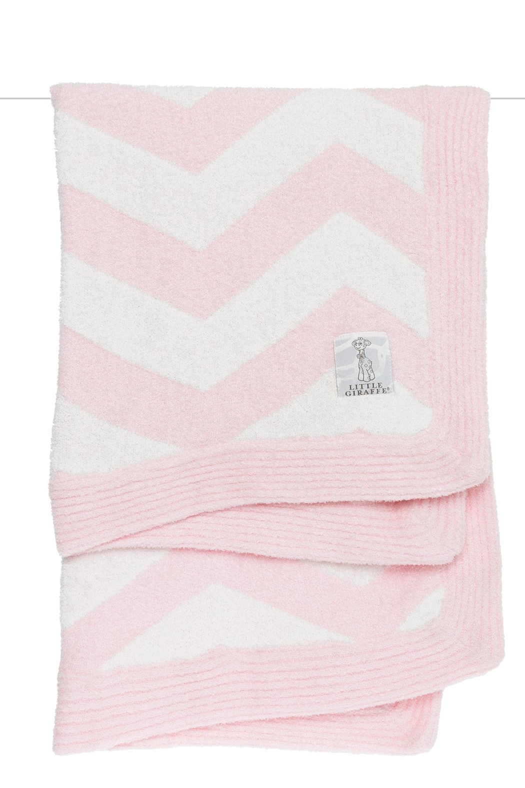 LITTLE GIRAFFE Pink Chevron Blanket - Front Cropped Image