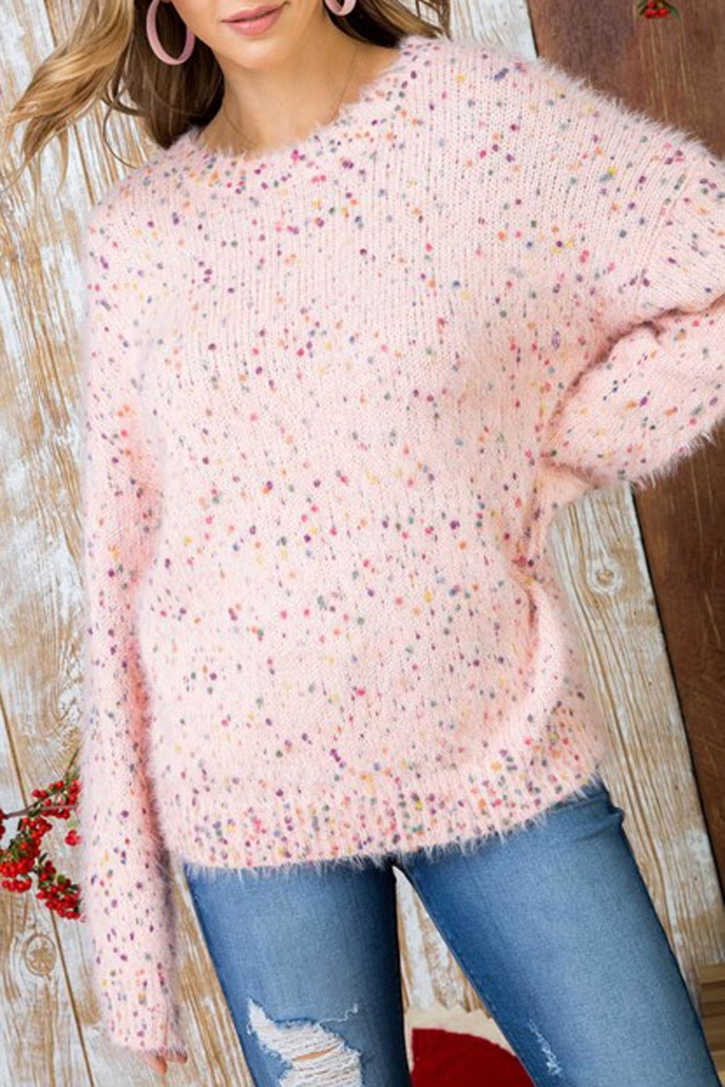 The Vintage Valet Pink Confetti Sweater - Side Cropped Image