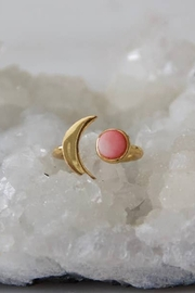 Mesa Blue Pink Coral Crescent Moon Ring - Product Mini Image