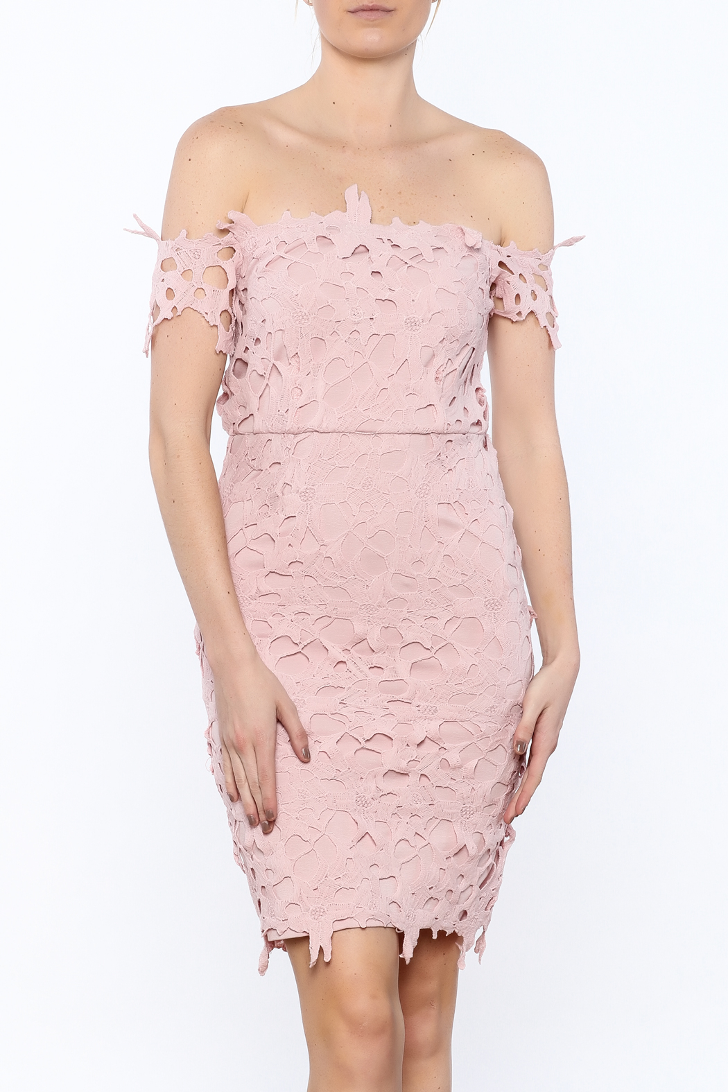 Ark & Co. Pink Crochet Dress - Front Cropped Image