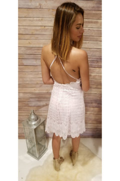 Lush Pink Crochet Scallop Lace Dress - Alternate List Image