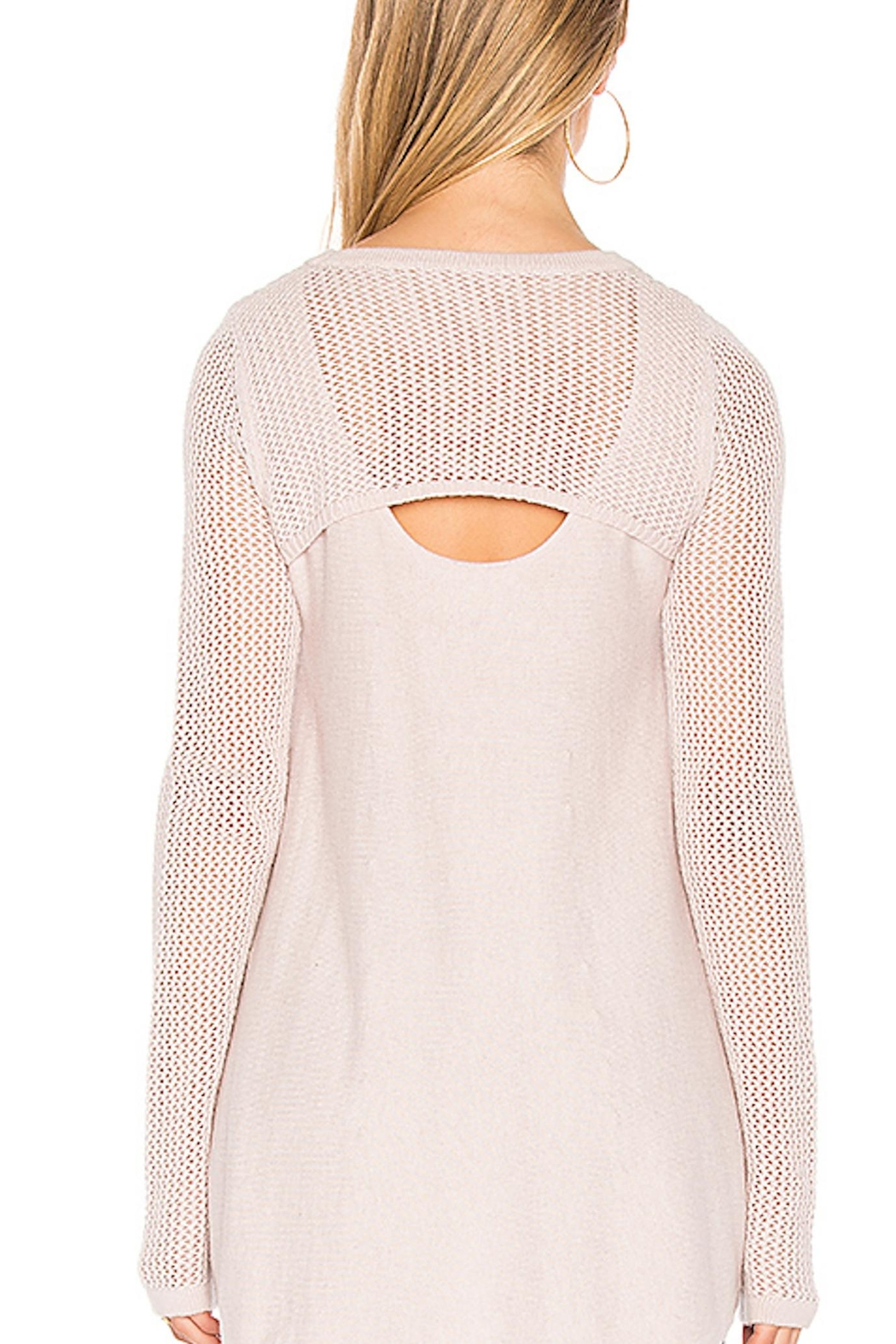 One Grey Day Pink Crochet Sweater - Front Full Image