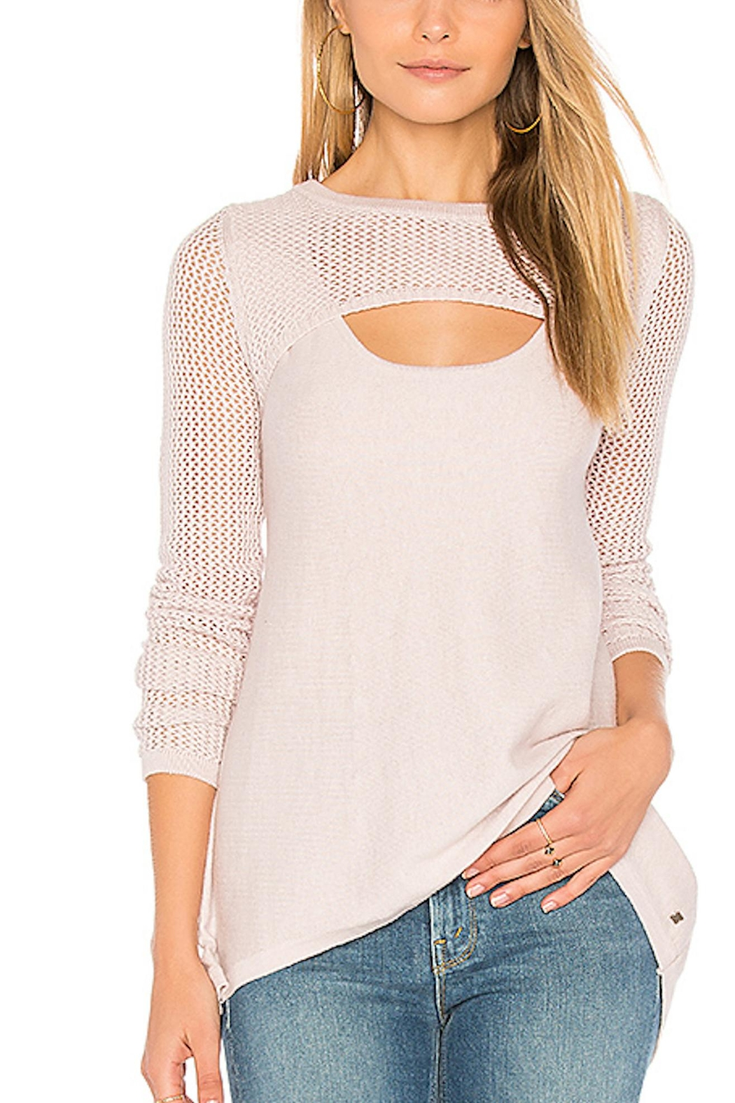 One Grey Day Pink Crochet Sweater - Main Image