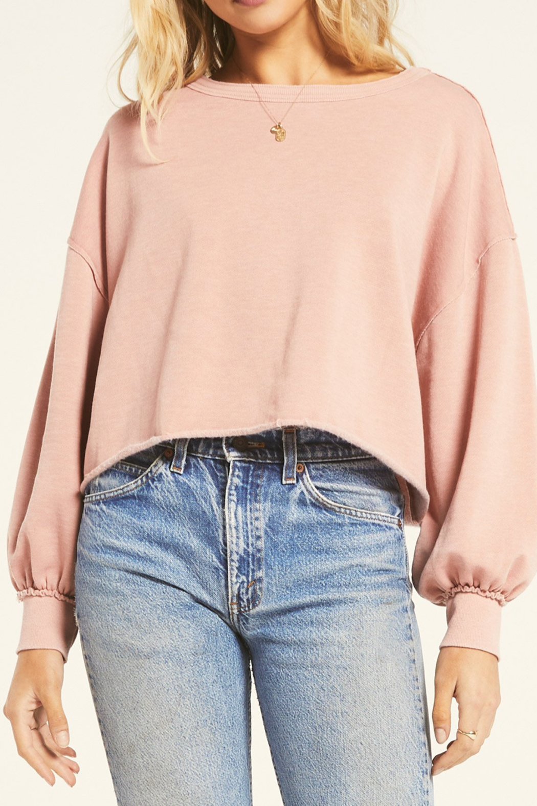 Z Supply  Pink Cropped Sweatshirt - Main Image