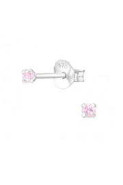 Silver Jewels Pink Crystal Round 2mm Stud Earrings - Front cropped