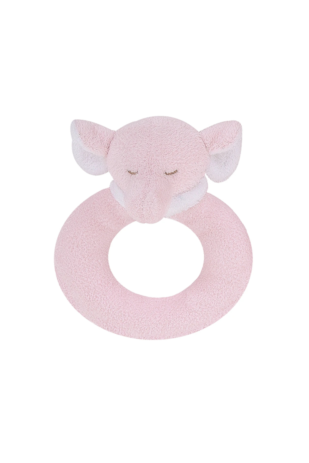 Angel Dear Pink Elephant Ring Rattle - Main Image