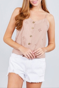 Active Basic Pink Eyelet Cami - Product List Image