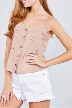 Active Basic Pink Eyelet Cami - Alternate List Image