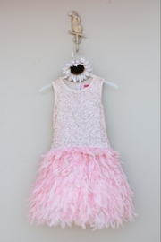 Derhy Pink Feathered Dress - Front cropped