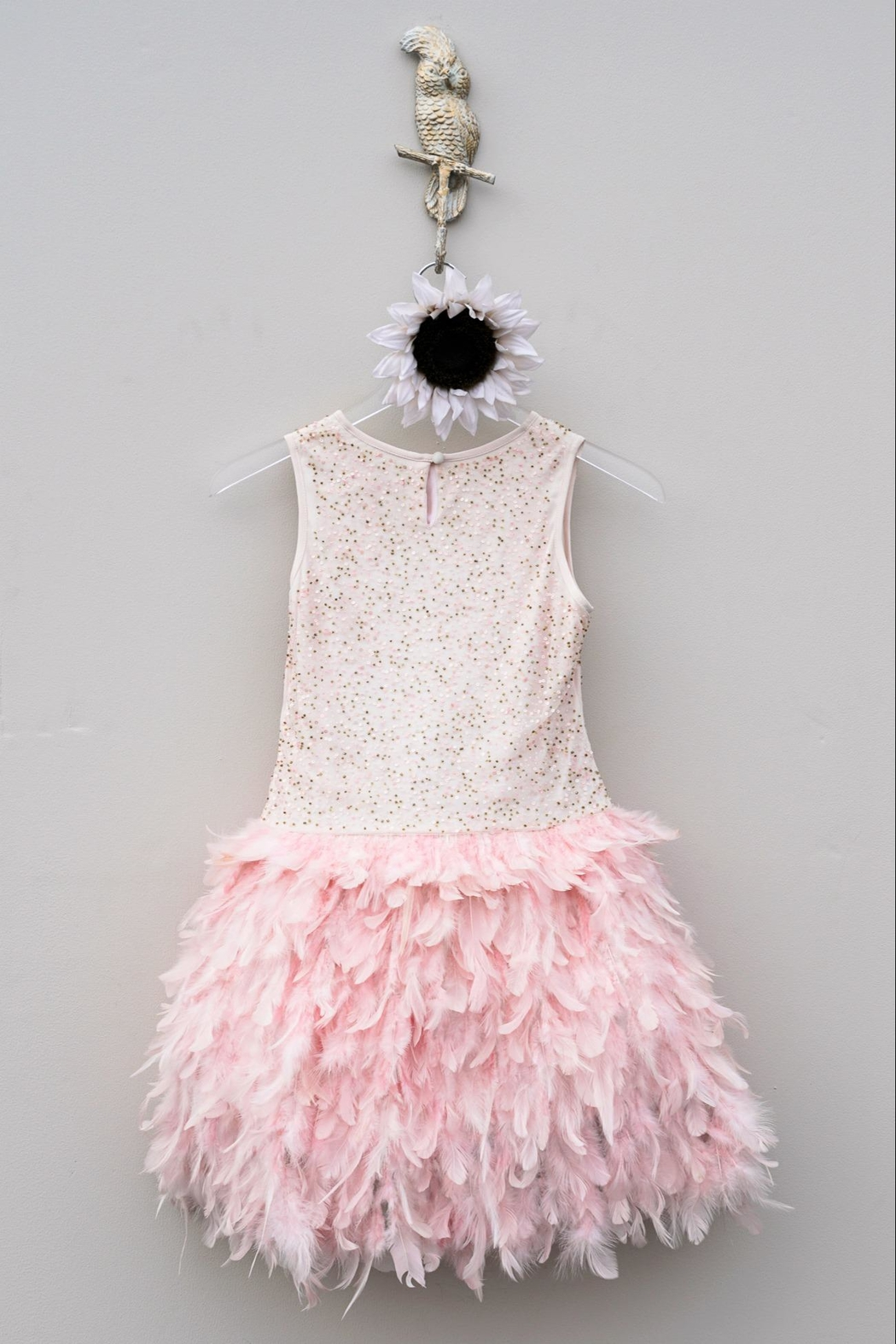 Derhy Pink Feathered Dress - Front Full Image