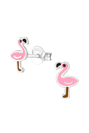 Silver Jewels Pink Flamingo Silver Stud Earrings - Front cropped