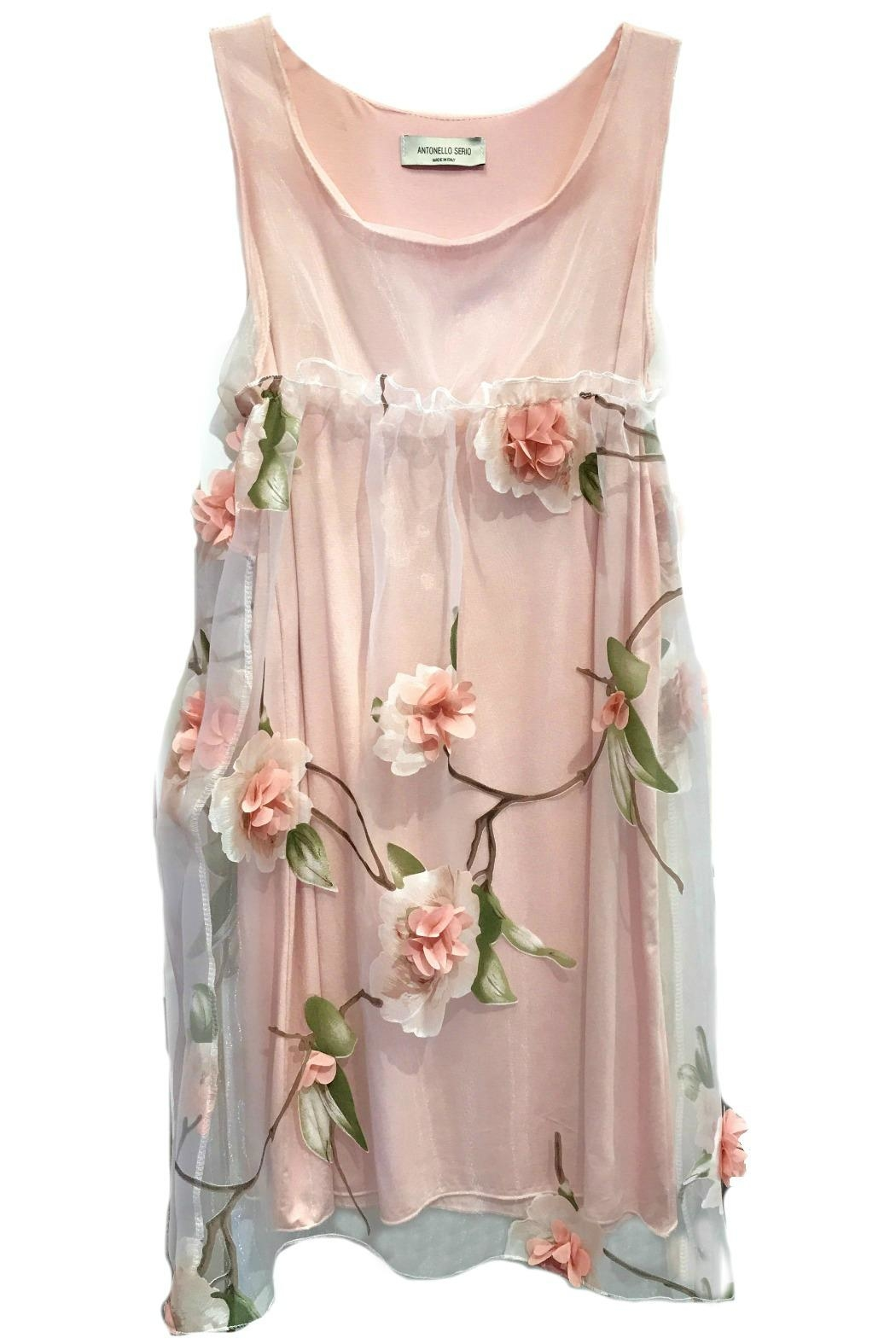 ANTONELLO SERIO Pink Floral Chiffon - Front Cropped Image
