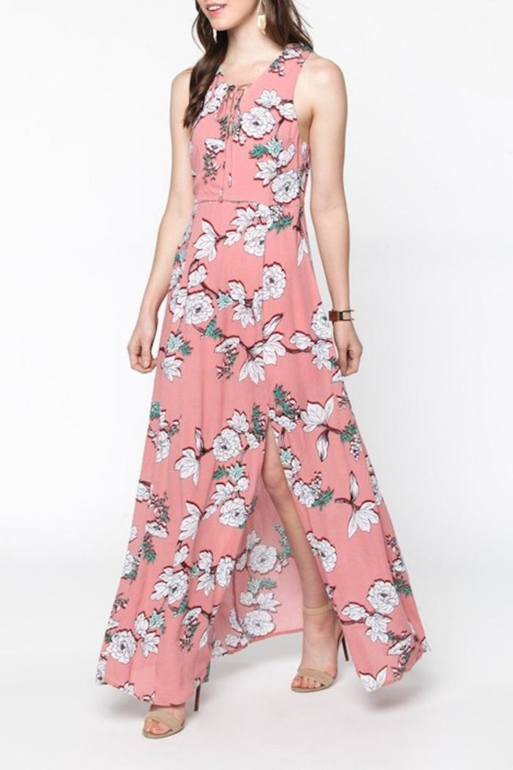 Everly Pink Floral Maxi - Front Cropped Image