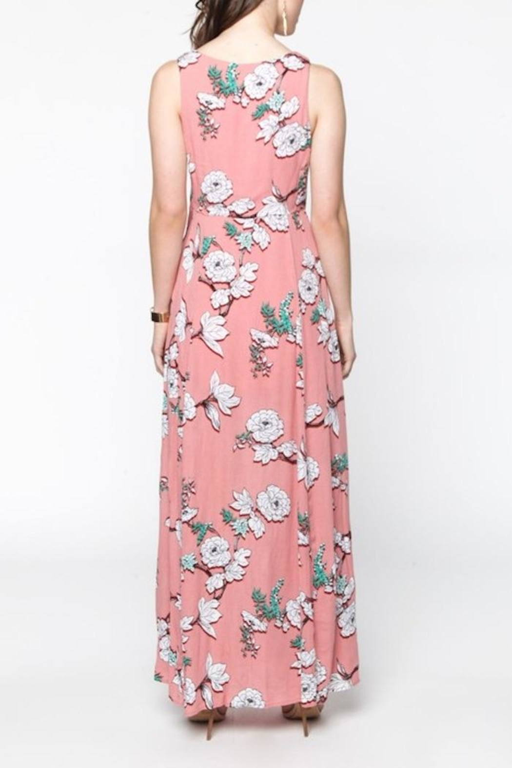 Everly Pink Floral Maxi - Back Cropped Image