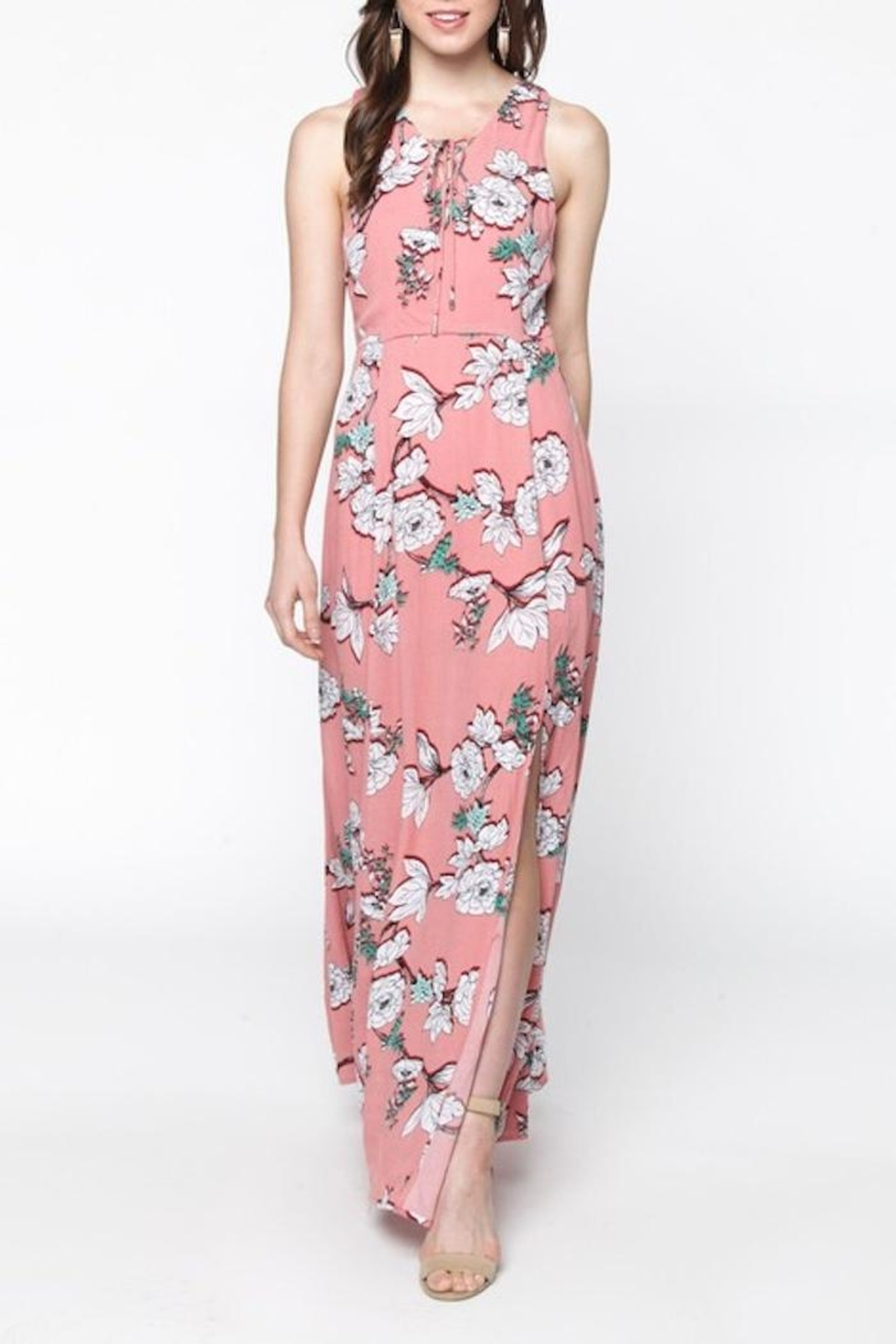 Everly Pink Floral Maxi - Side Cropped Image