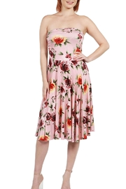 24/7 Comfort Apparel Pink Floral Strapless - Front cropped