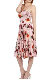 24/7 Comfort Apparel Pink Floral Strapless - Front full body