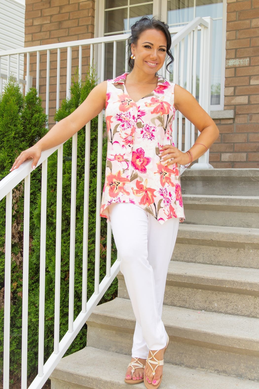 Pure Essence Pink Floral Top - Main Image
